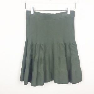 Intermix | Olive Green Fitted Flare Mini Skirt